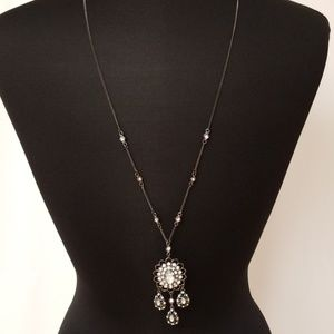 Long Silver and Diamonds Necklace